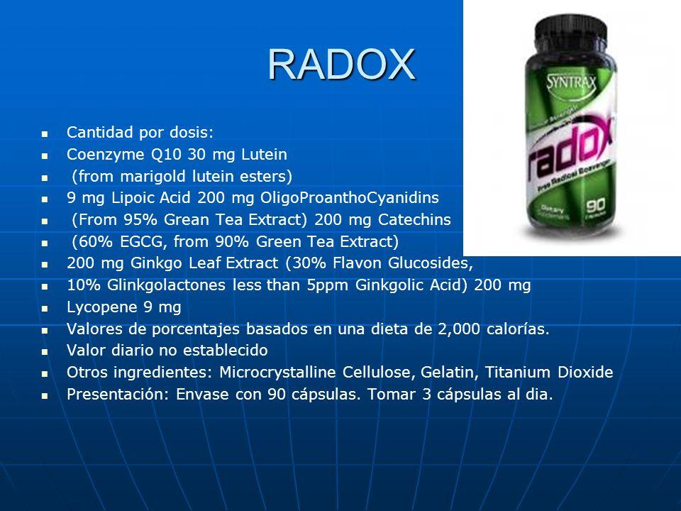RADOX Cantidad por dosis: Coenzyme Q10 30 mg Lutein