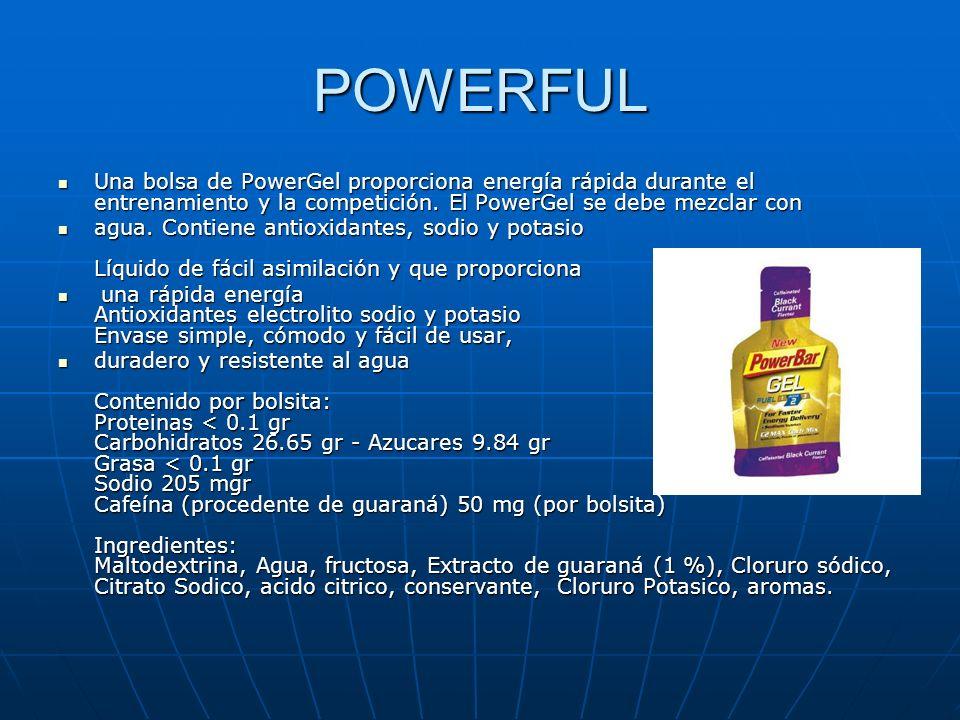 POWERFUL Una bolsa de PowerGel proporciona energía rápida durante el entrenamiento y la competición. El PowerGel se debe mezclar con.