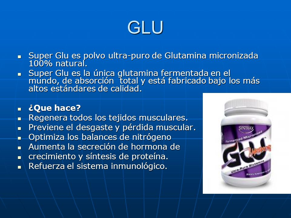 GLU Super Glu es polvo ultra-puro de Glutamina micronizada 100% natural.