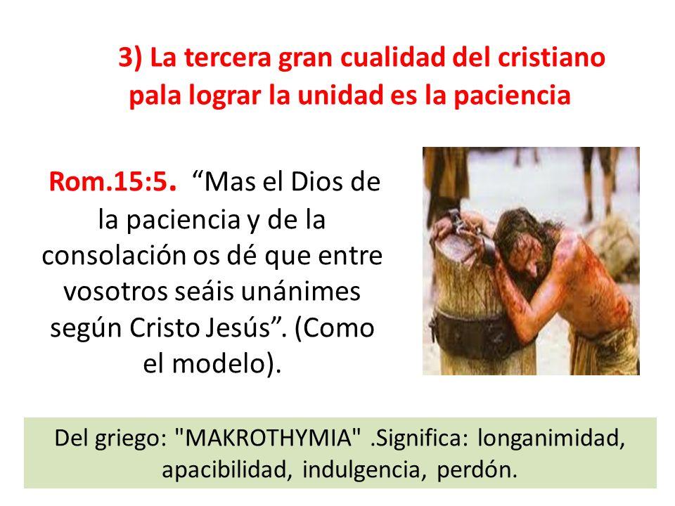 3) La tercera gran cualidad del cristiano pala lograr la unidad es la paciencia