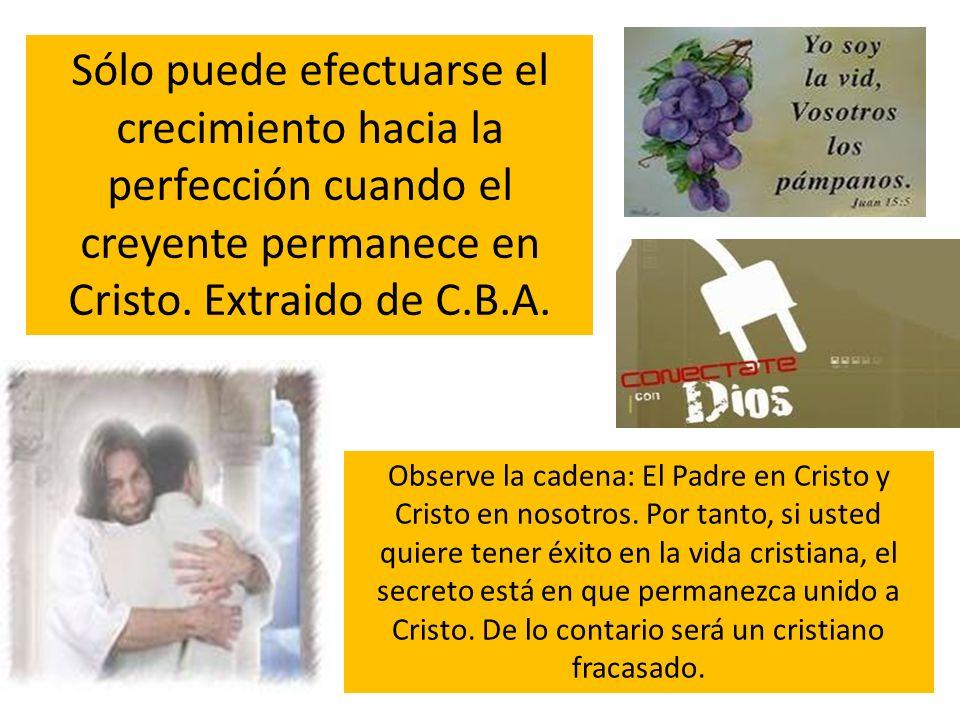Sólo puede efectuarse el crecimiento hacia la perfección cuando el creyente permanece en Cristo. Extraido de C.B.A.