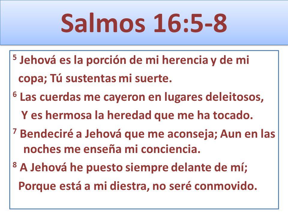 Salmos 16:5-8 5 Jehová es la porción de mi herencia y de mi