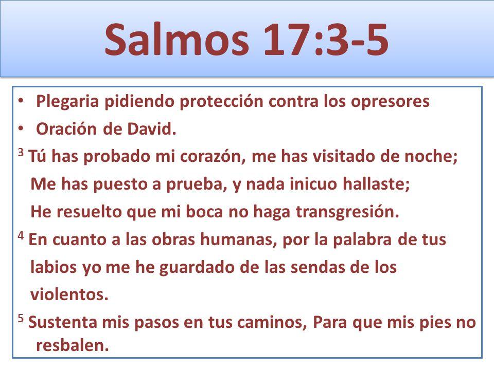 Salmos 17:3-5 Plegaria pidiendo protección contra los opresores