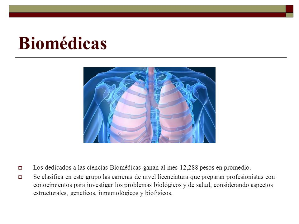 Biomédicas Los dedicados a las ciencias Biomédicas ganan al mes 12,288 pesos en promedio.