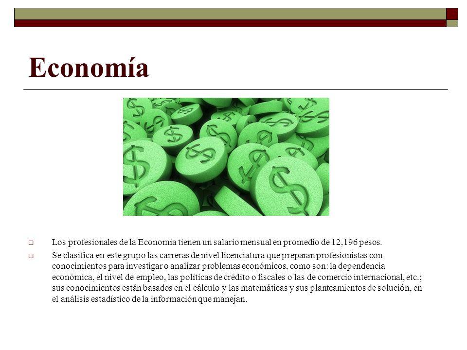Economía Los profesionales de la Economía tienen un salario mensual en promedio de 12,196 pesos.