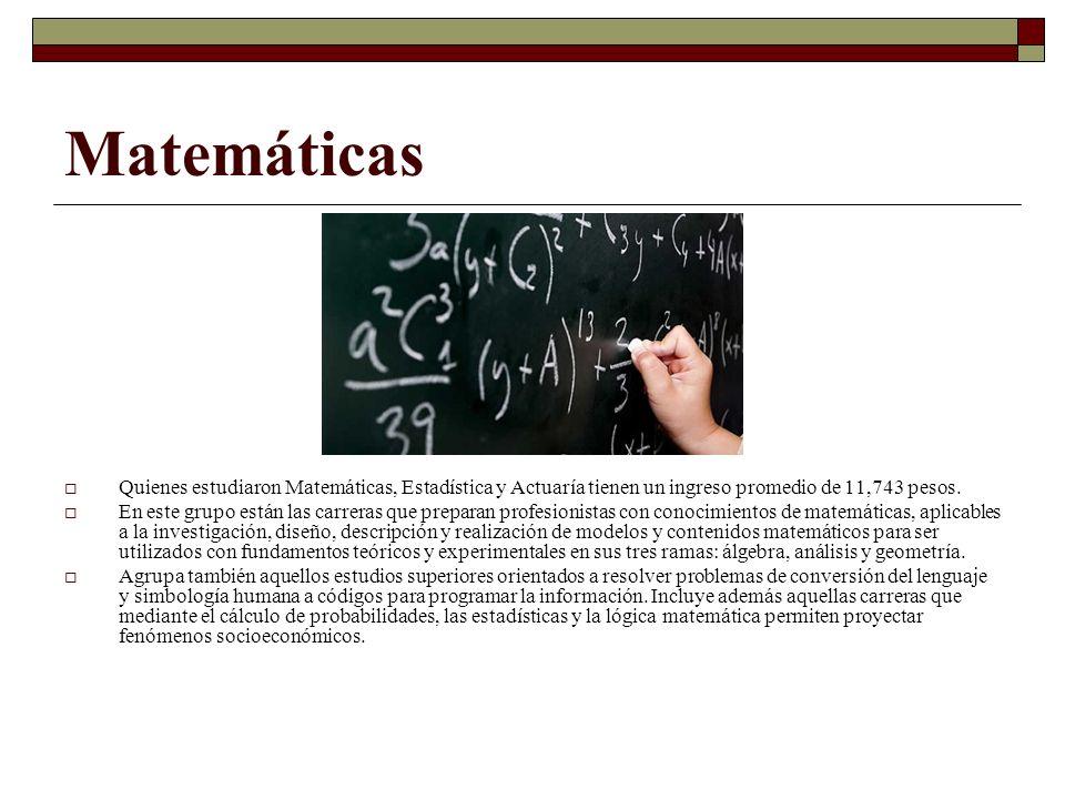 Matemáticas Quienes estudiaron Matemáticas, Estadística y Actuaría tienen un ingreso promedio de 11,743 pesos.