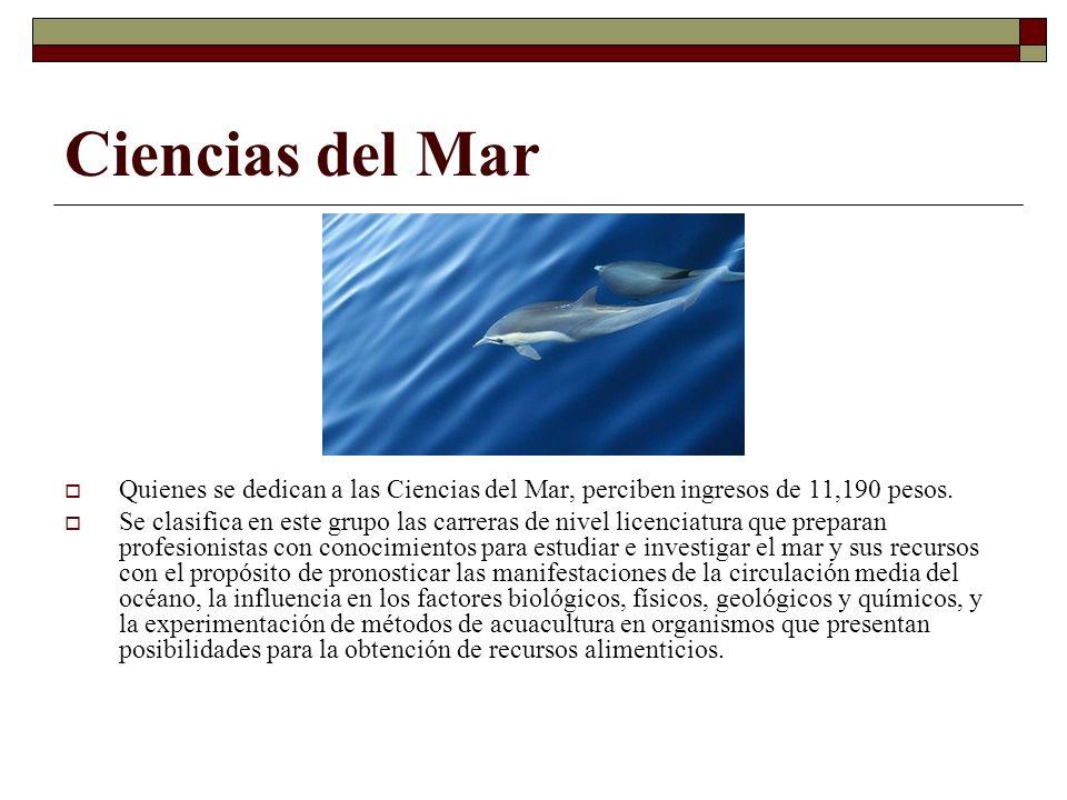 Ciencias del Mar Quienes se dedican a las Ciencias del Mar, perciben ingresos de 11,190 pesos.