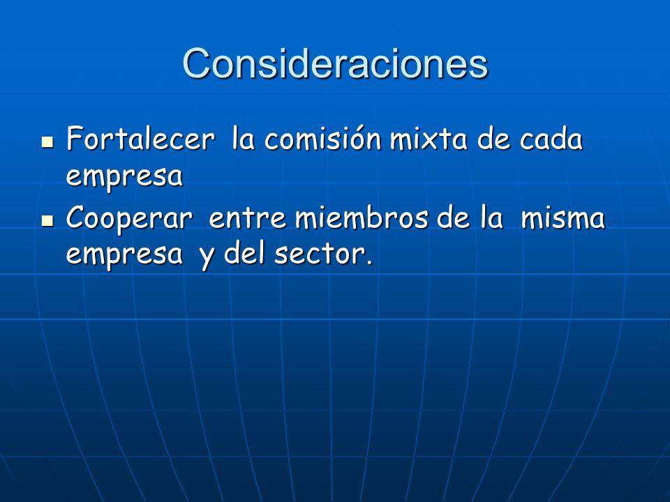 Consideraciones Fortalecer la comisión mixta de cada empresa