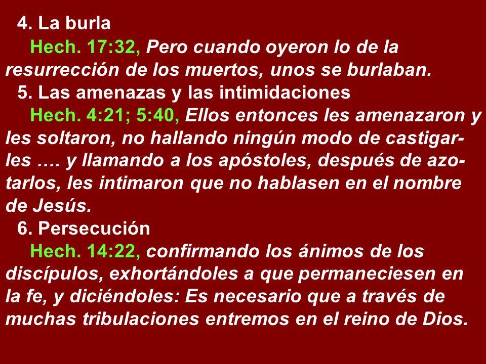 4. La burlaHech. 17:32, Pero cuando oyeron lo de la resurrección de los muertos, unos se burlaban. 5. Las amenazas y las intimidaciones.