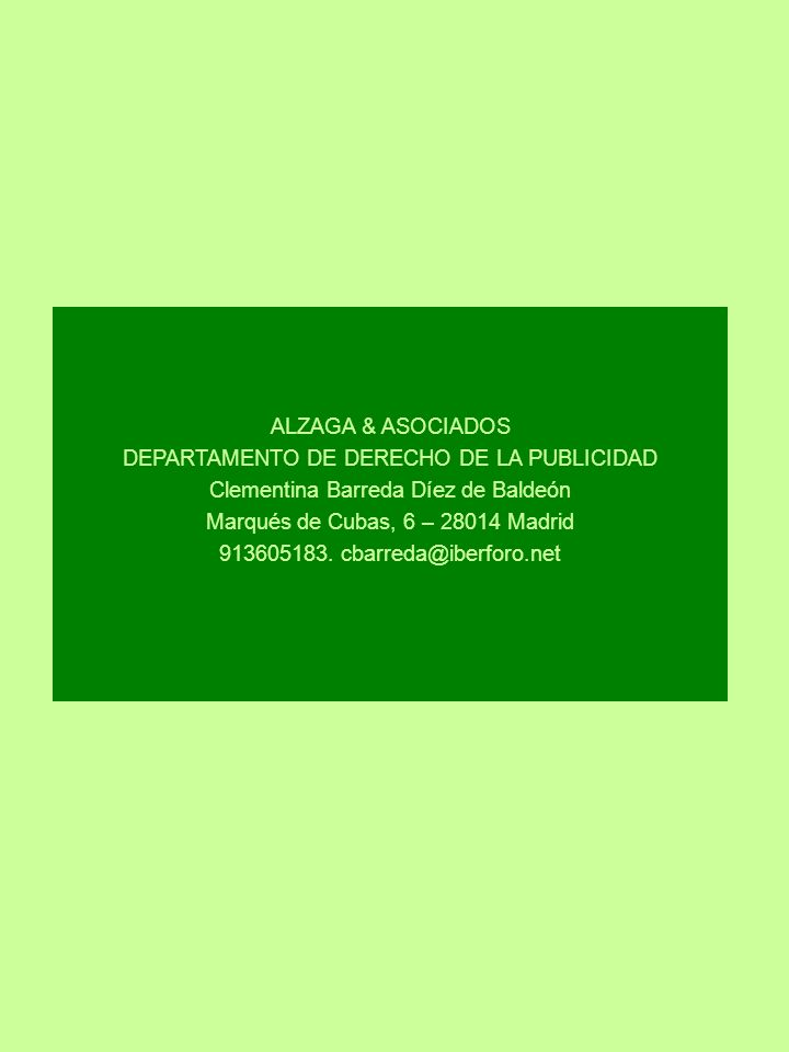 DEPARTAMENTO DE DERECHO DE LA PUBLICIDAD