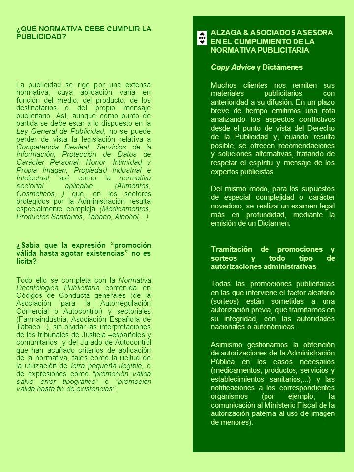 ALZAGA & ASOCIADOS ASESORA EN EL CUMPLIMIENTO DE LA NORMATIVA PUBLICITARIA