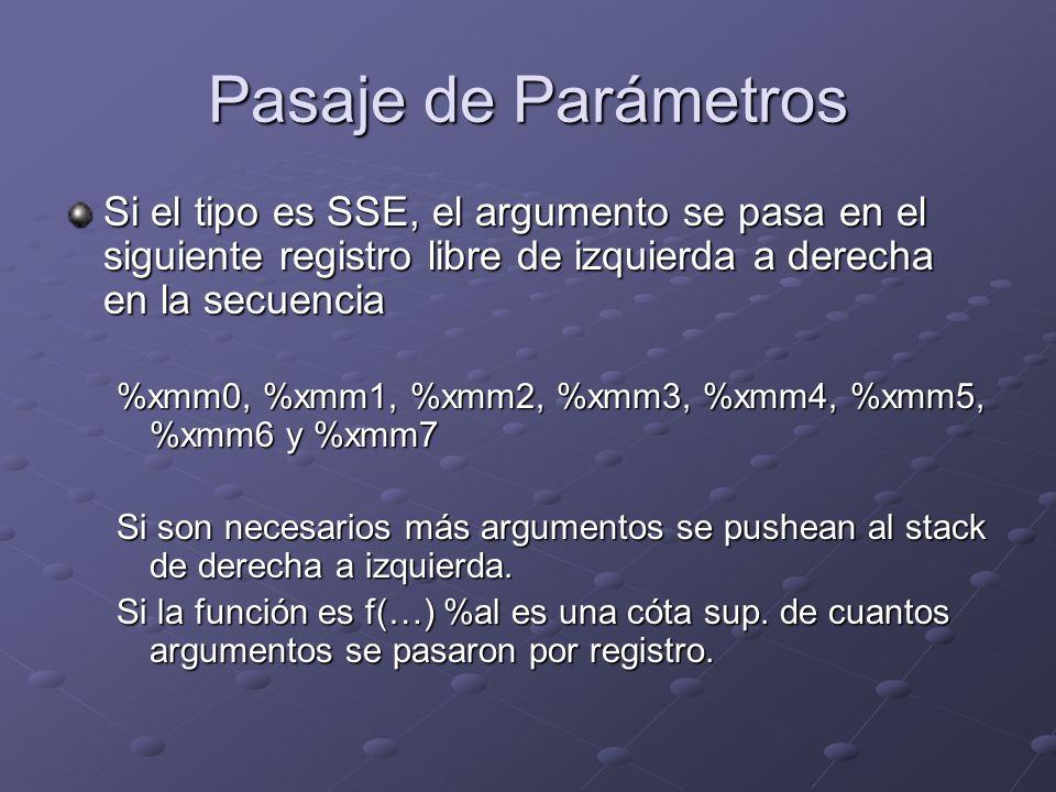 Pasaje de Parámetros Si el tipo es SSE, el argumento se pasa en el siguiente registro libre de izquierda a derecha en la secuencia.