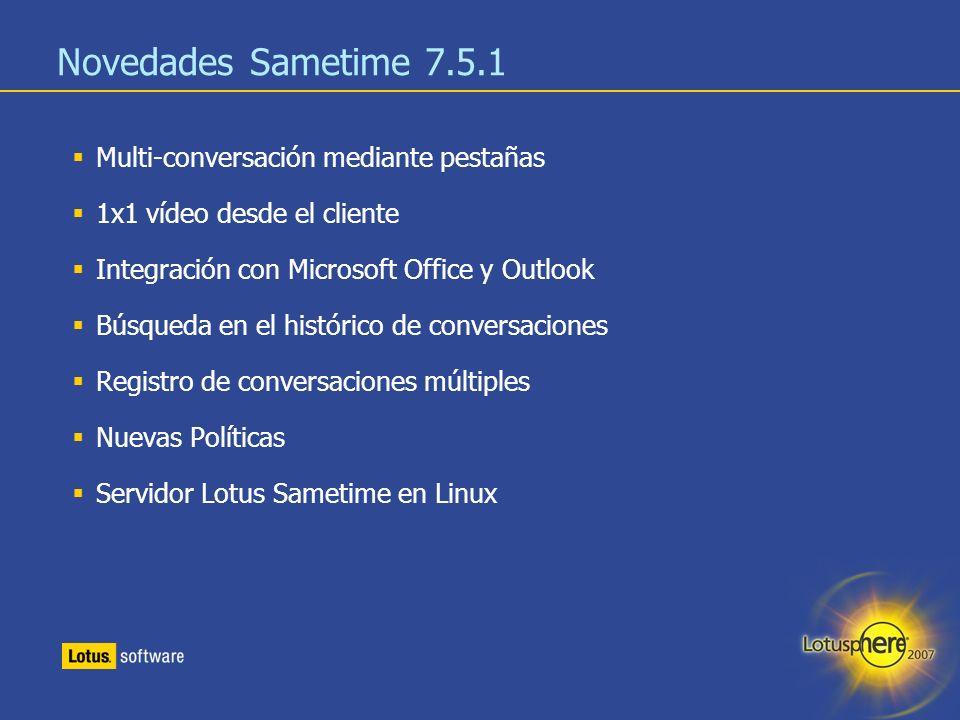 Novedades Sametime 7.5.1 Multi-conversación mediante pestañas