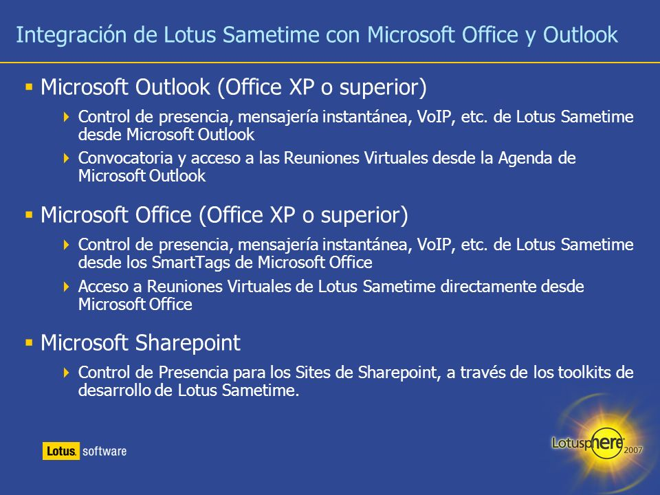 Integración de Lotus Sametime con Microsoft Office y Outlook