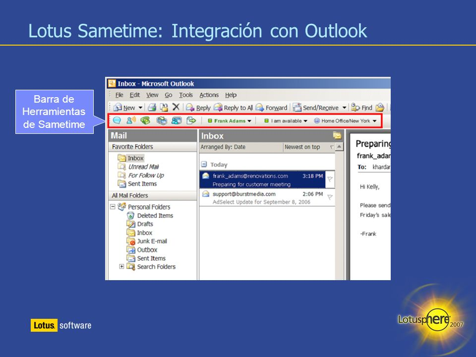 Lotus Sametime: Integración con Outlook