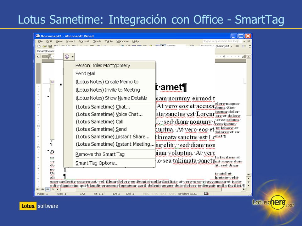 Lotus Sametime: Integración con Office - SmartTag