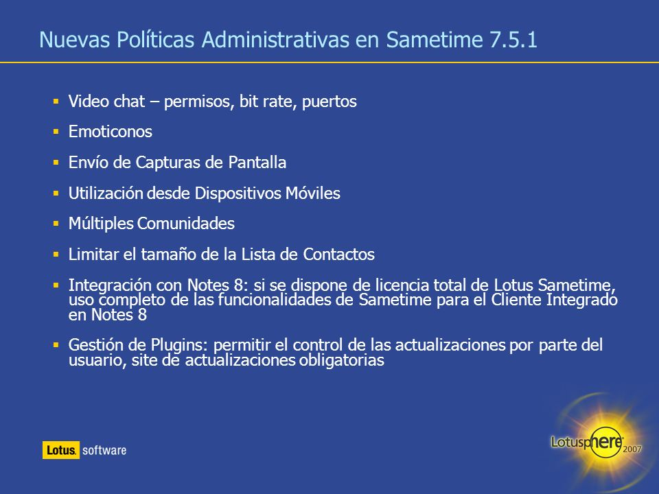 Nuevas Políticas Administrativas en Sametime 7.5.1