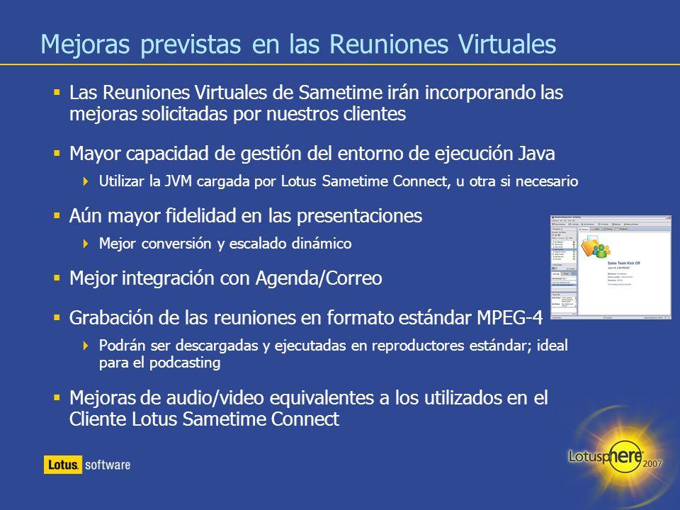 Mejoras previstas en las Reuniones Virtuales