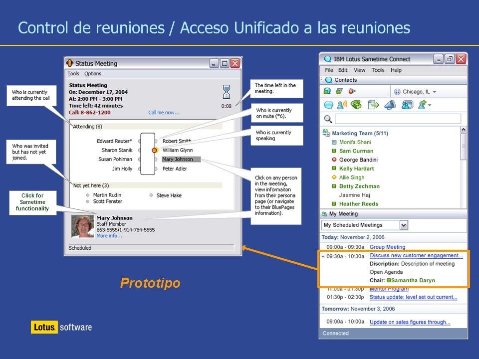 Control de reuniones / Acceso Unificado a las reuniones