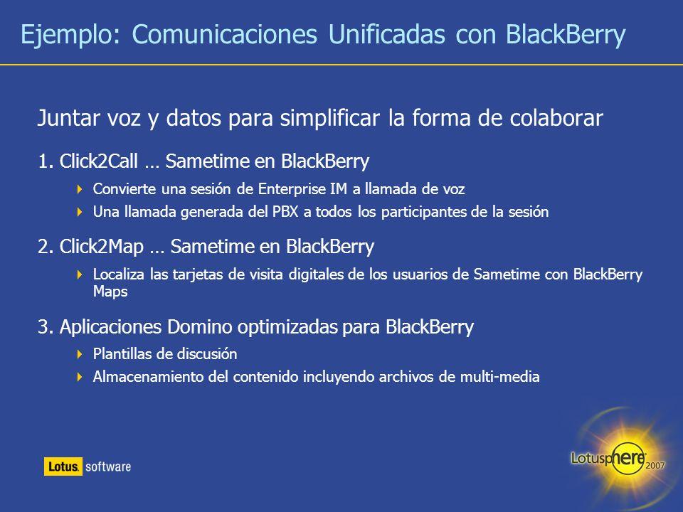 Ejemplo: Comunicaciones Unificadas con BlackBerry
