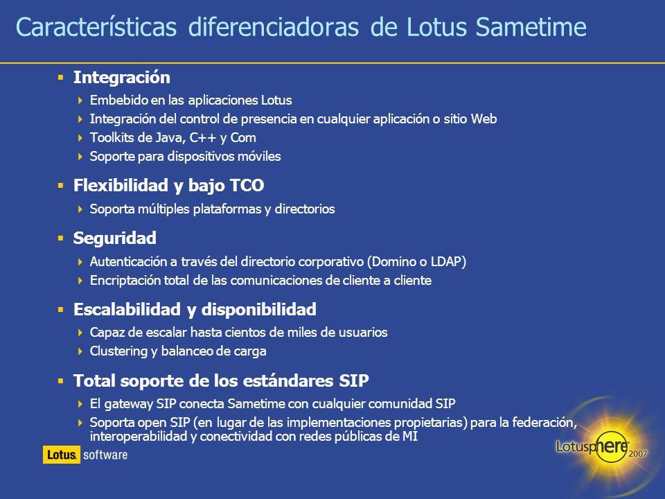 Características diferenciadoras de Lotus Sametime