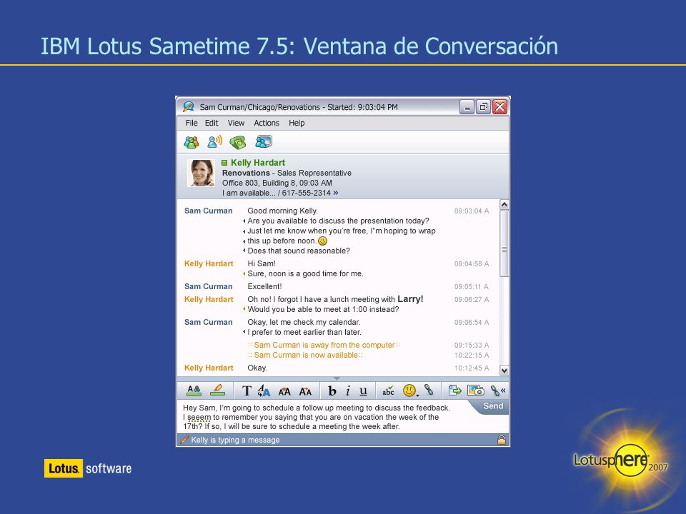 IBM Lotus Sametime 7.5: Ventana de Conversación