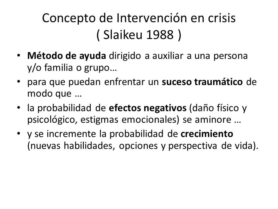 Concepto de Intervención en crisis ( Slaikeu 1988 )