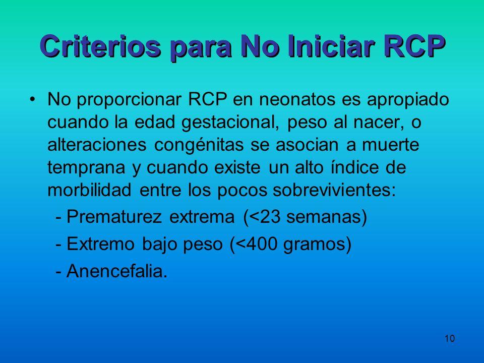 Criterios para No Iniciar RCP