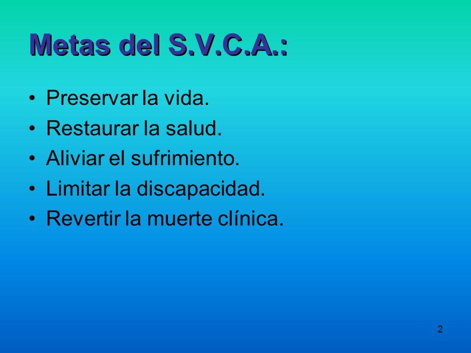 Metas del S.V.C.A.: Preservar la vida. Restaurar la salud.