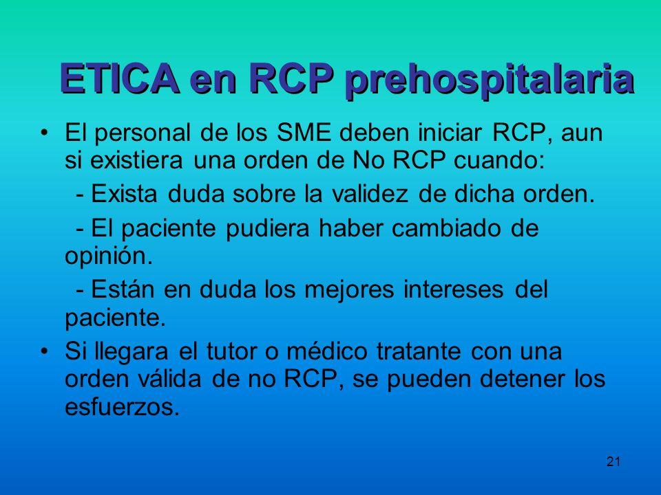 ETICA en RCP prehospitalaria