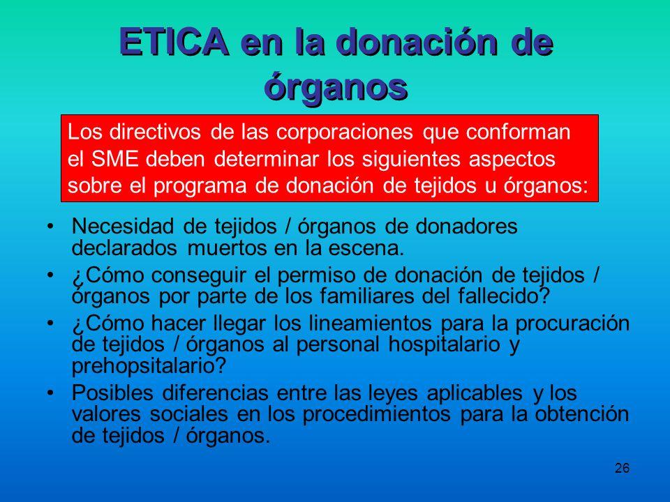 ETICA en la donación de órganos