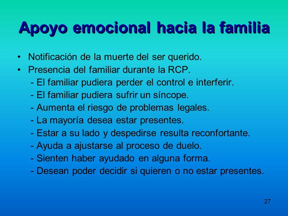 Apoyo emocional hacia la familia