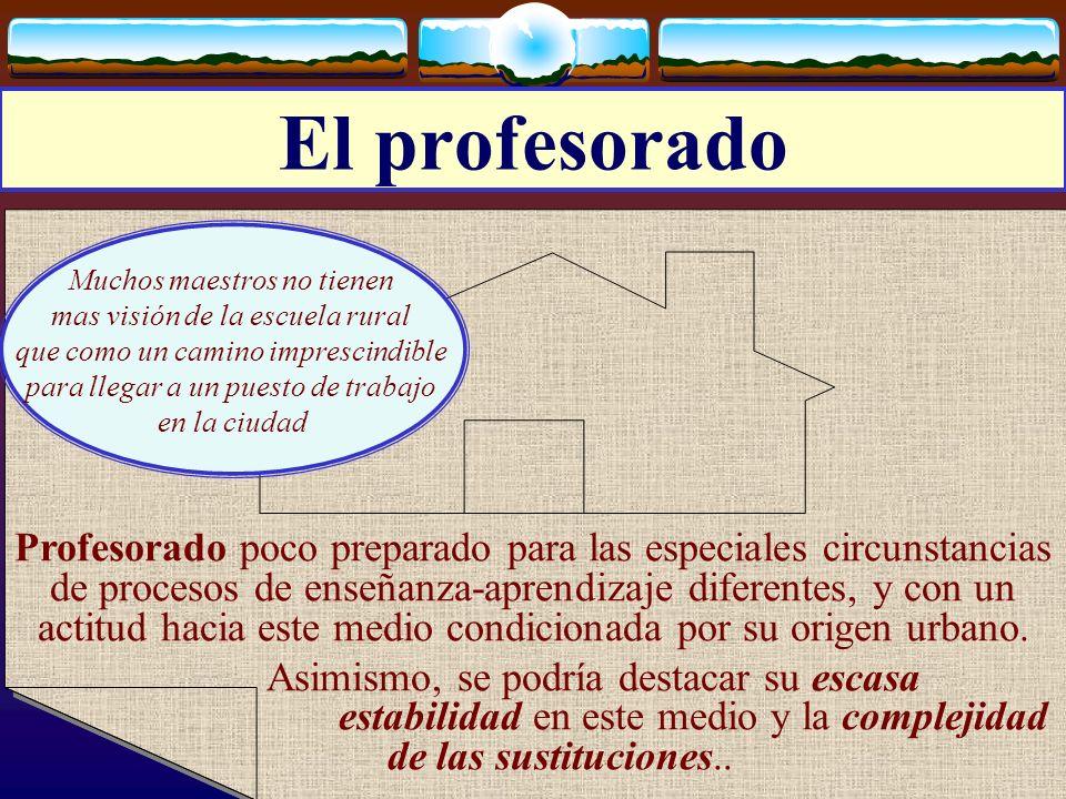 El profesorado Muchos maestros no tienen. mas visión de la escuela rural. que como un camino imprescindible.