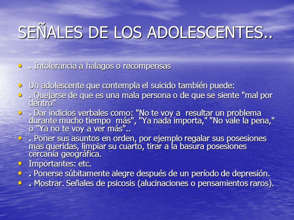 SEÑALES DE LOS ADOLESCENTES..