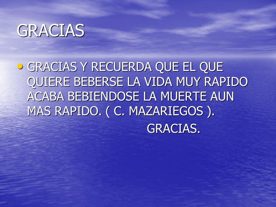 GRACIAS GRACIAS Y RECUERDA QUE EL QUE QUIERE BEBERSE LA VIDA MUY RAPIDO ACABA BEBIENDOSE LA MUERTE AUN MAS RAPIDO. ( C. MAZARIEGOS ).