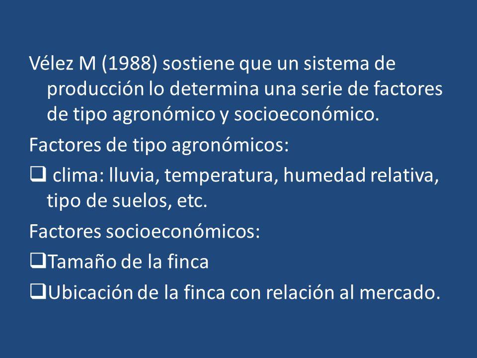 Vélez M (1988) sostiene que un sistema de producción lo determina una serie de factores de tipo agronómico y socioeconómico.
