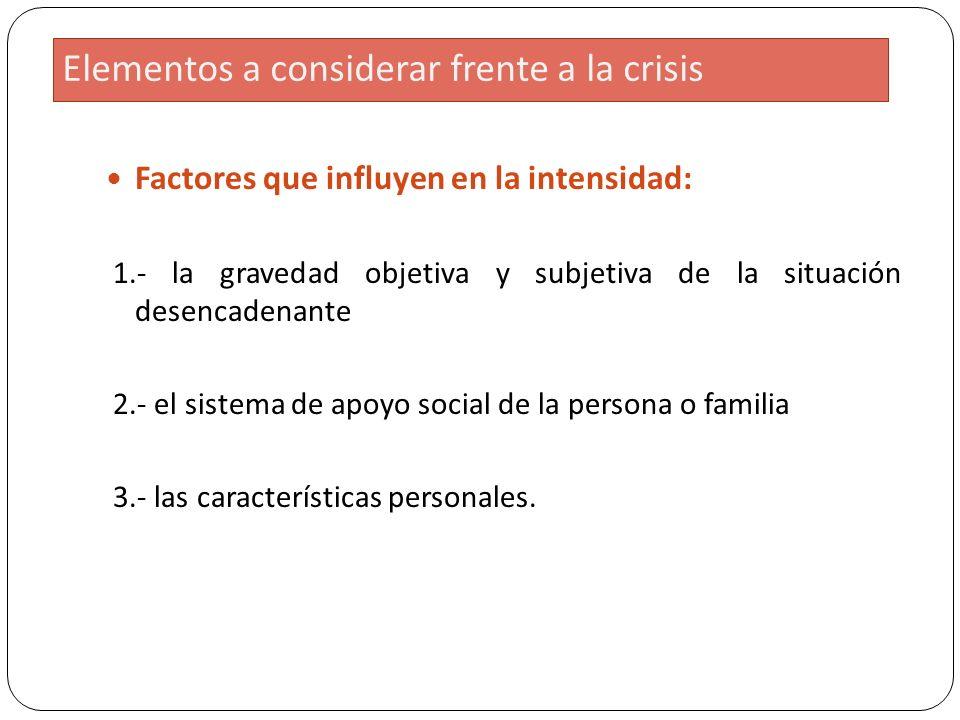 Elementos a considerar frente a la crisis