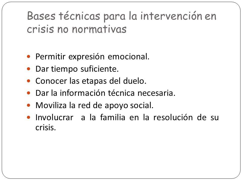Bases técnicas para la intervención en crisis no normativas