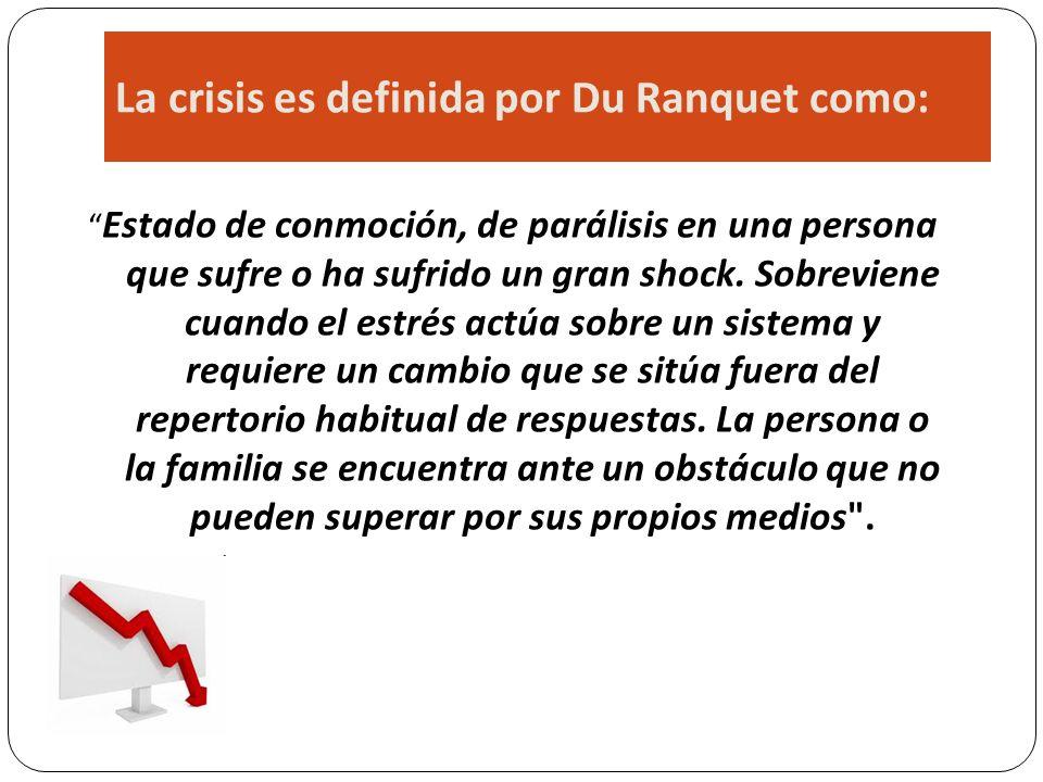 La crisis es definida por Du Ranquet como:
