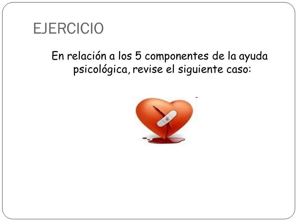 EJERCICIO En relación a los 5 componentes de la ayuda psicológica, revise el siguiente caso: 22