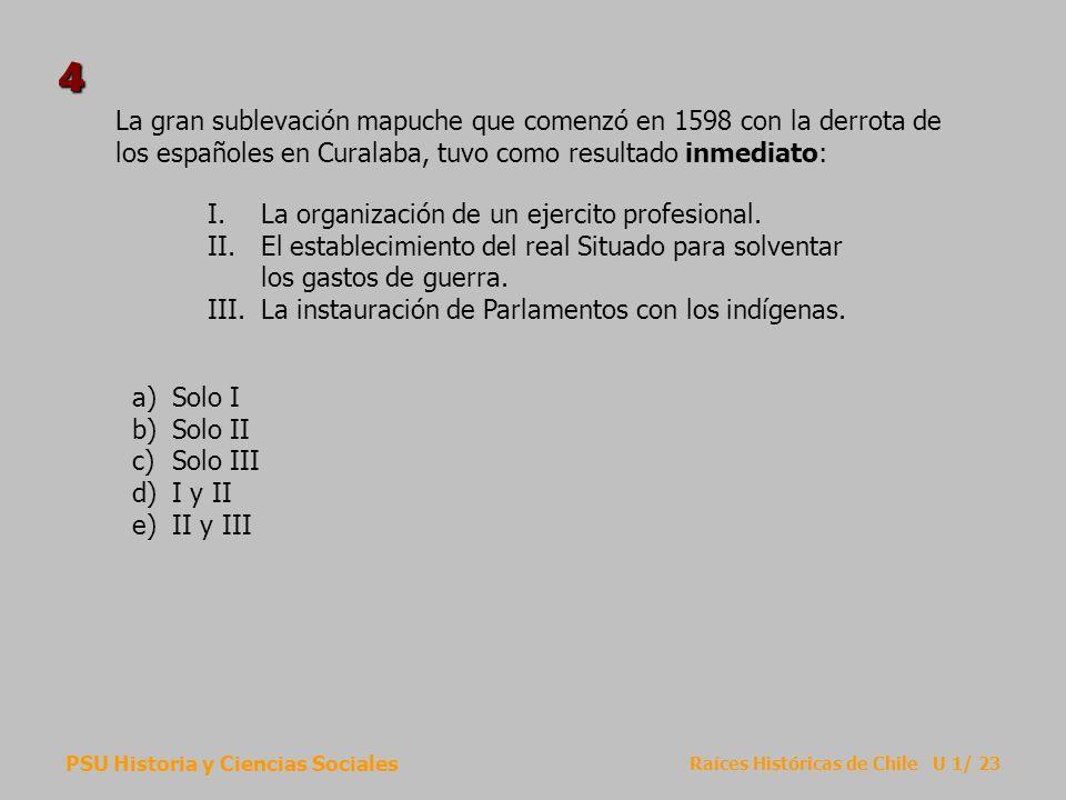4La gran sublevación mapuche que comenzó en 1598 con la derrota de los españoles en Curalaba, tuvo como resultado inmediato:
