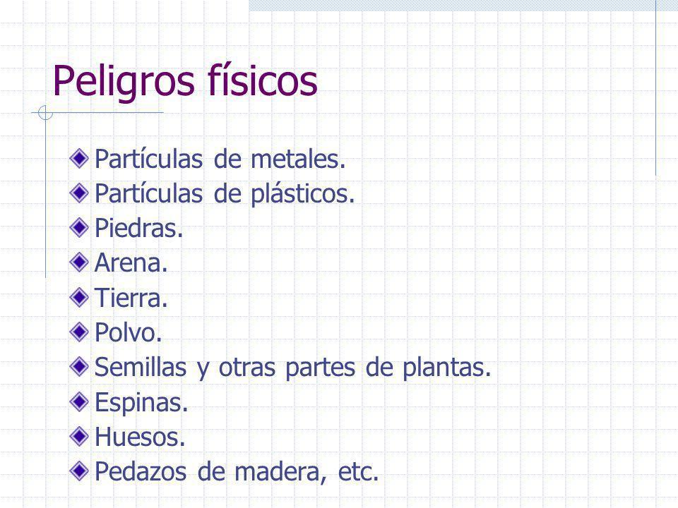 Peligros físicos Partículas de metales. Partículas de plásticos.