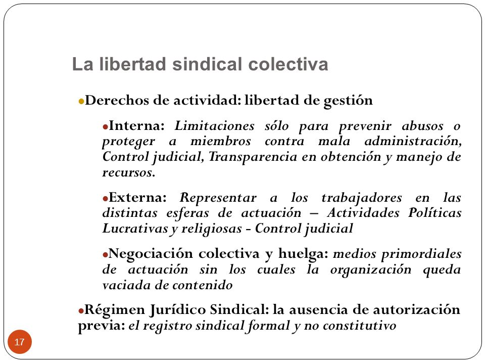 La libertad sindical colectiva