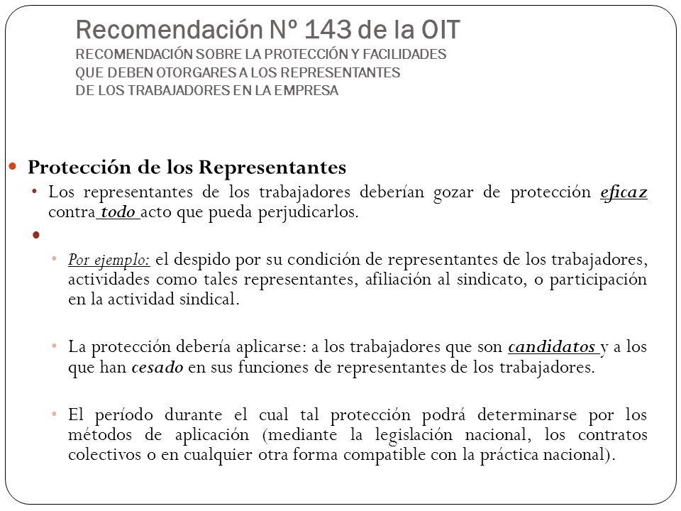 Recomendación Nº 143 de la OIT RECOMENDACIÓN SOBRE LA PROTECCIÓN Y FACILIDADES QUE DEBEN OTORGARES A LOS REPRESENTANTES DE LOS TRABAJADORES EN LA EMPRESA