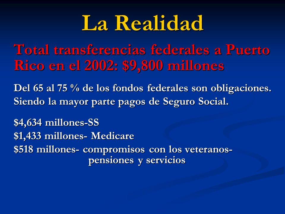 La RealidadTotal transferencias federales a Puerto Rico en el 2002: $9,800 millones. Del 65 al 75 % de los fondos federales son obligaciones.