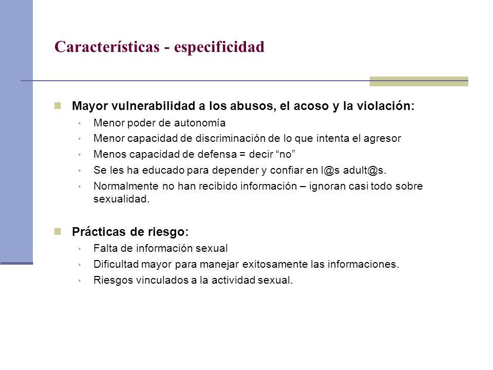 Características - especificidad