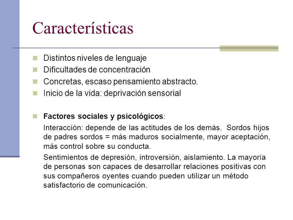 Características Distintos niveles de lenguaje