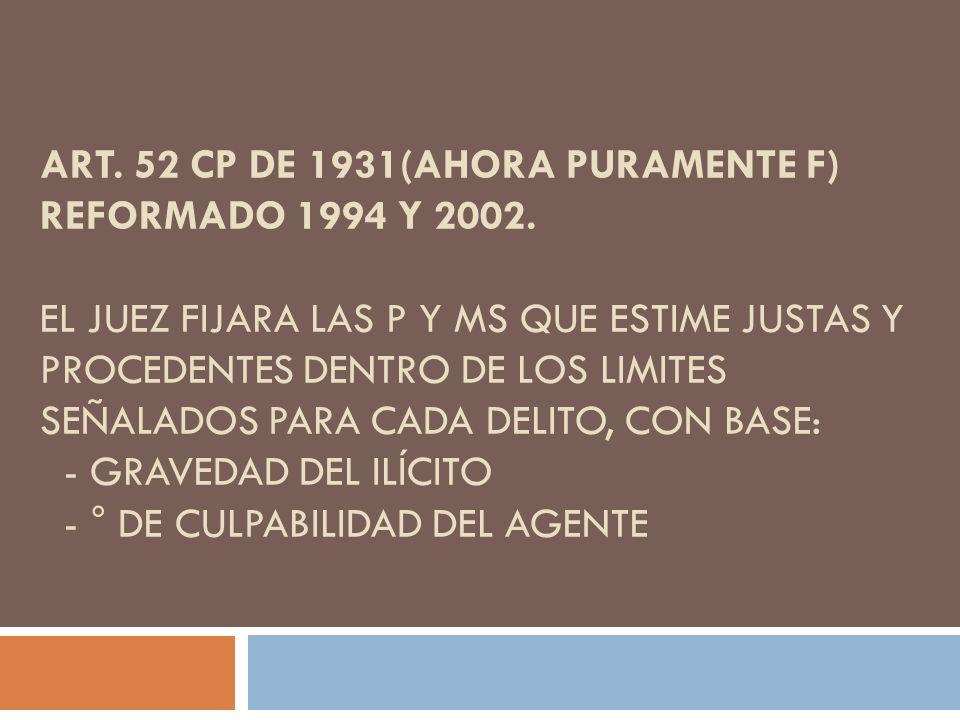 Art. 52 CP de 1931(ahora puramente F) reformado 1994 y 2002