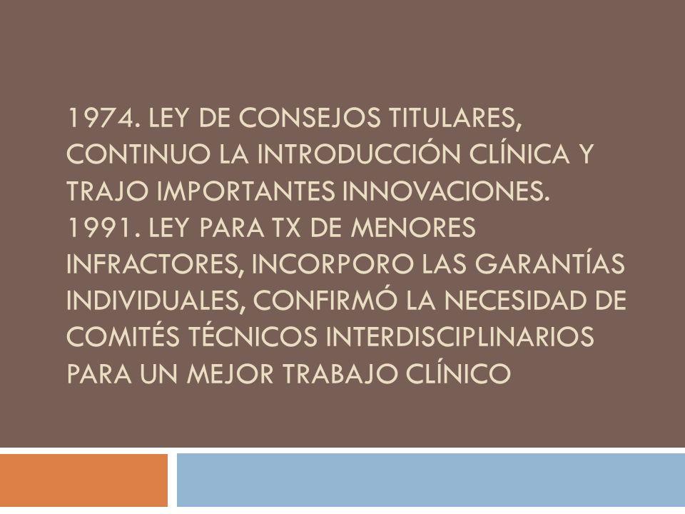 1974. Ley de consejos Titulares, continuo la introducción clínica y trajo importantes innovaciones.