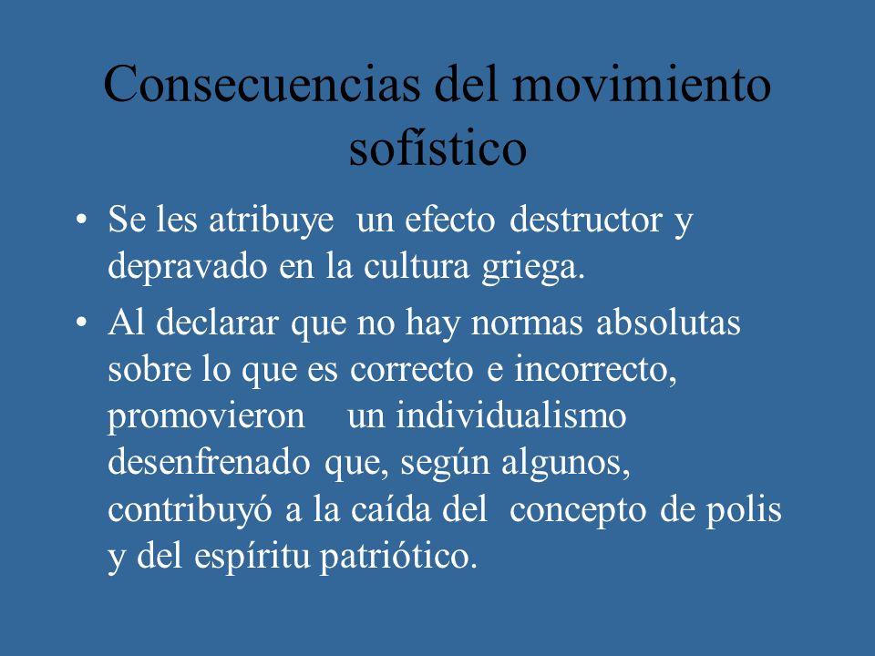 Consecuencias del movimiento sofístico